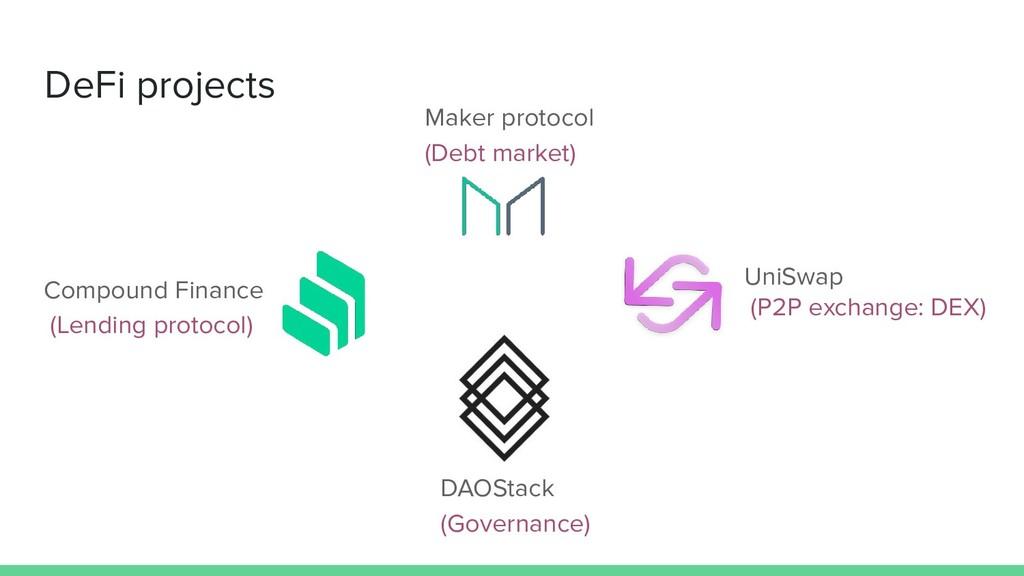 DeFi projects Maker protocol (Debt market) Comp...