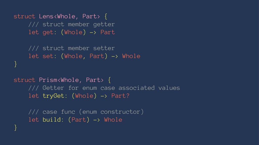 struct Lens<Whole, Part> { /// struct member ge...