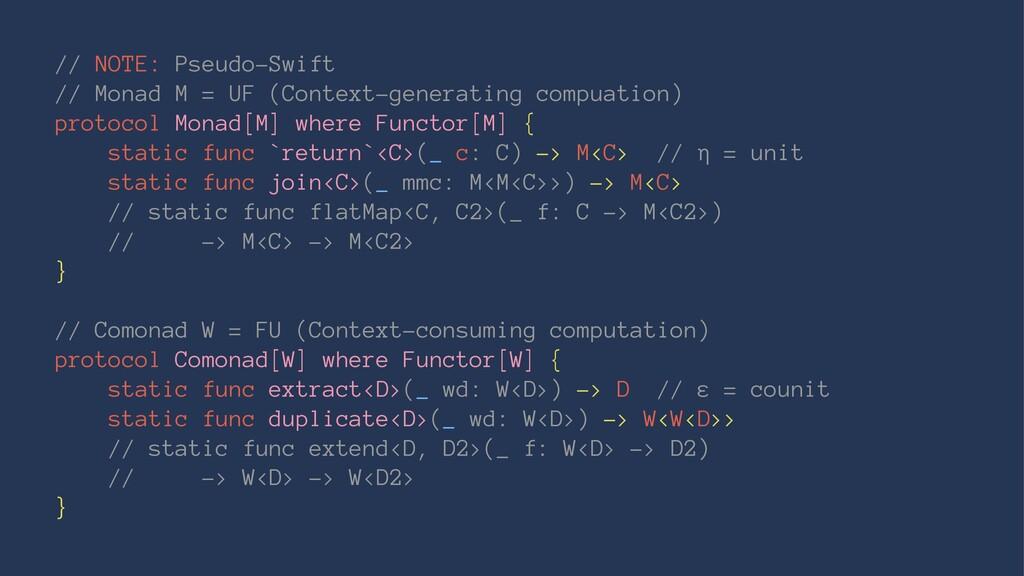 // NOTE: Pseudo-Swift // Monad M = UF (Context-...