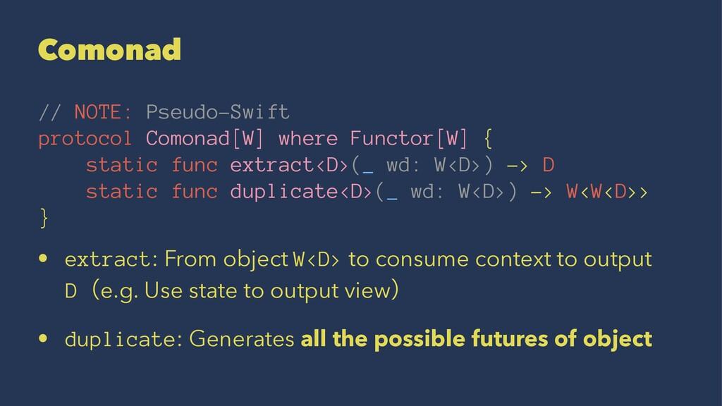 Comonad // NOTE: Pseudo-Swift protocol Comonad[...