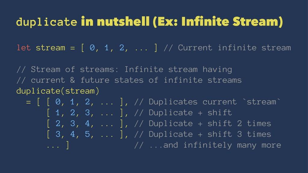 duplicate in nutshell (Ex: Infinite Stream) let ...