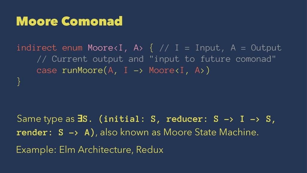 Moore Comonad indirect enum Moore<I, A> { // I ...