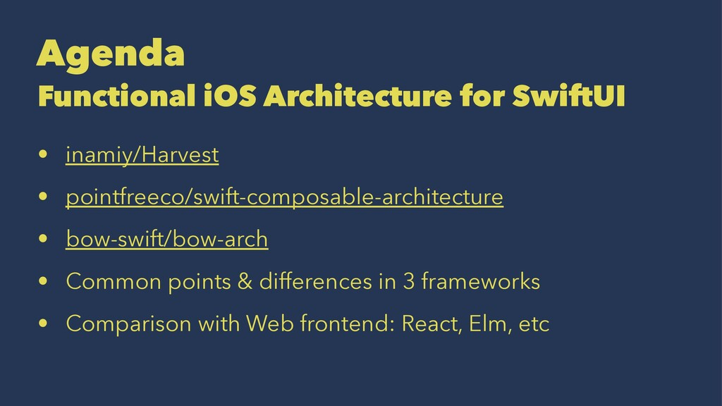 Agenda Functional iOS Architecture for SwiftUI ...