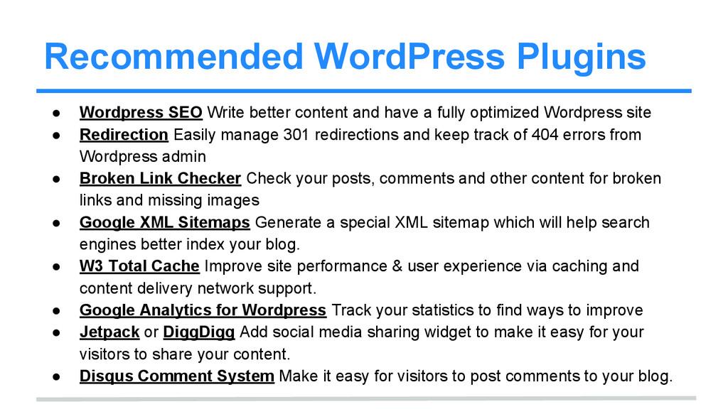 Recommended WordPress Plugins ● Wordpress SEO W...