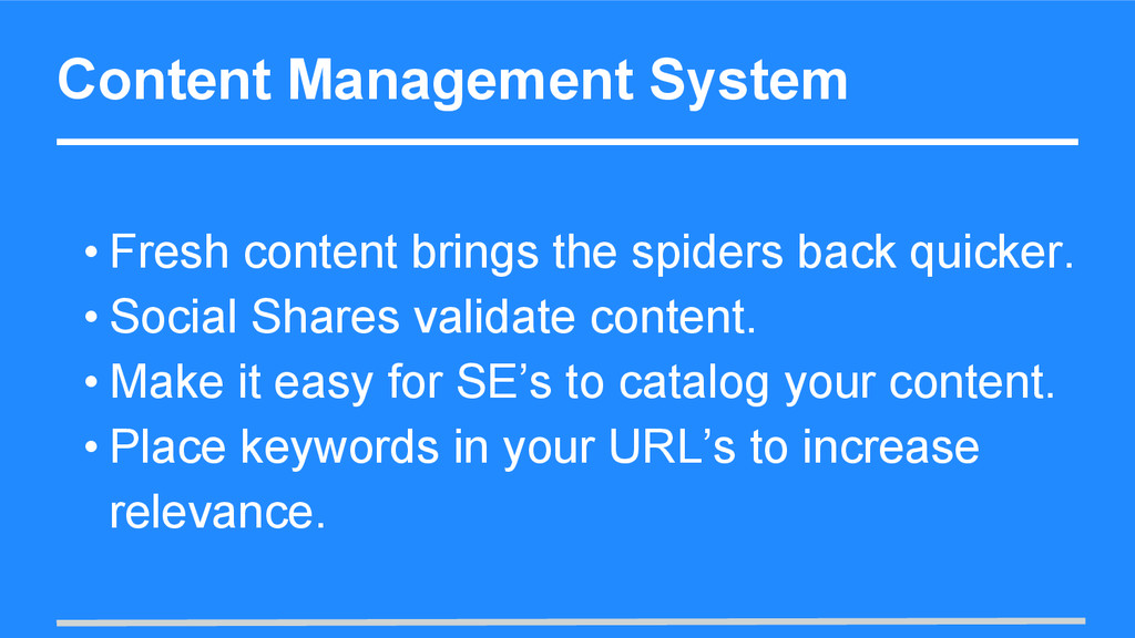 Content Management System • Fresh content bring...