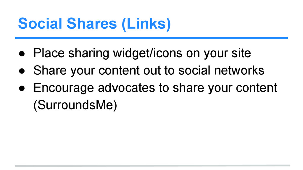Social Shares (Links) ● Place sharing widget/ic...