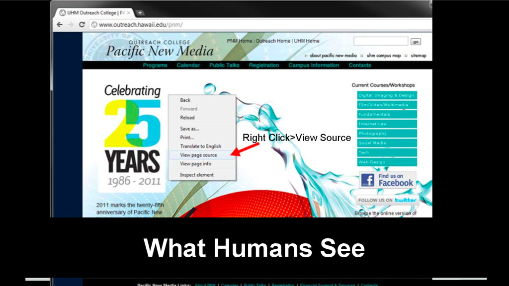 What Humans See Right Click>View Source