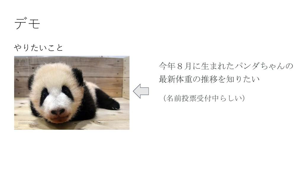 デモ やりたいこと 今年8月に生まれたパンダちゃんの 最新体重の推移を知りたい (名前投票受付...