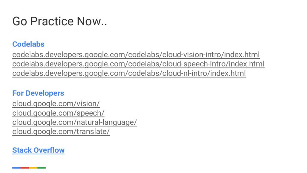 Go Practice Now.. Codelabs codelabs.developers....