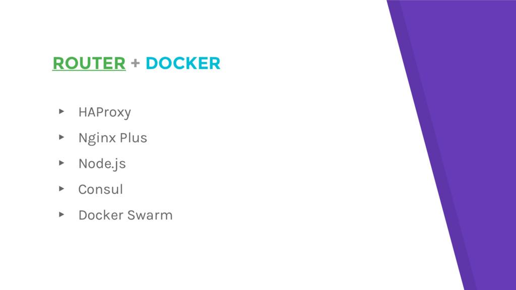 ROUTER + DOCKER ▸ HAProxy ▸ Nginx Plus ▸ Node.j...