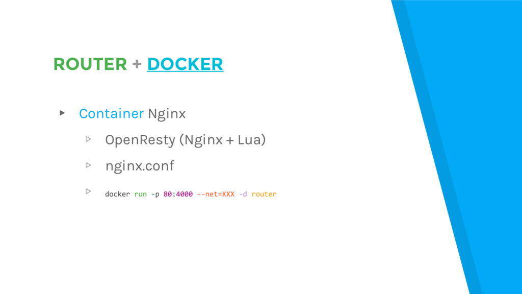ROUTER + DOCKER ▸ Container Nginx ▹ OpenResty (...