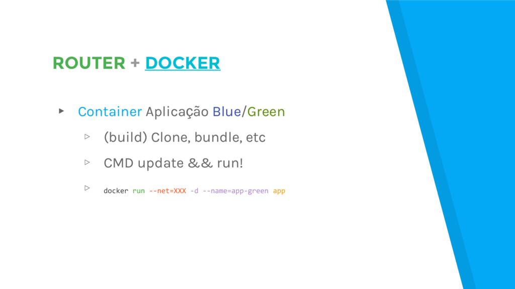 ROUTER + DOCKER ▸ Container Aplicação Blue/Gree...