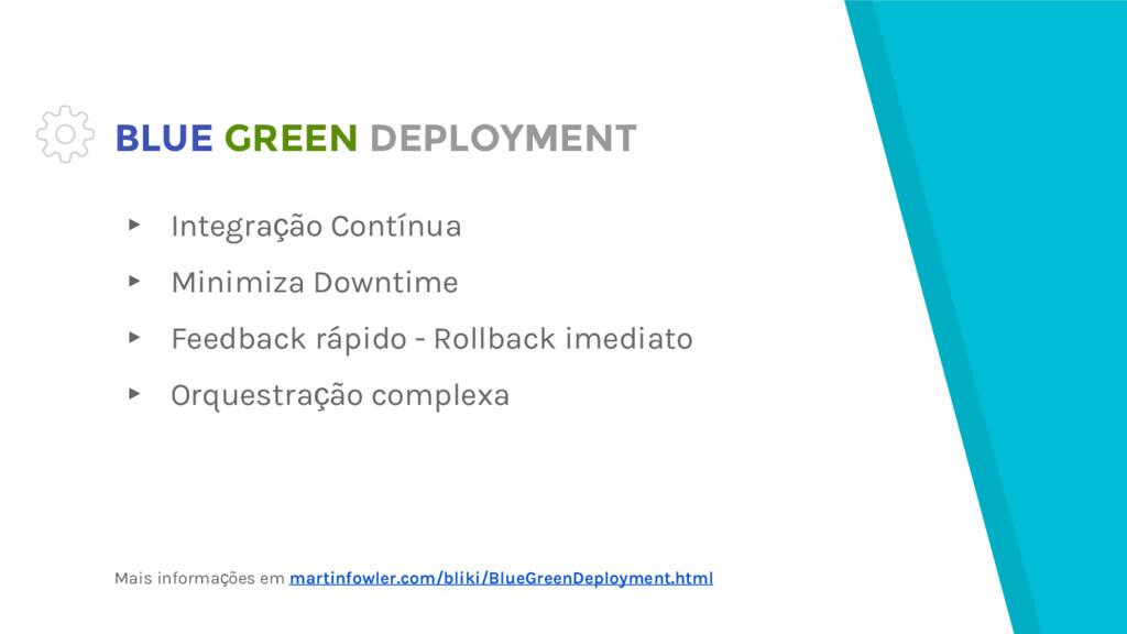 BLUE GREEN DEPLOYMENT ▸ Integração Contínua ▸ M...