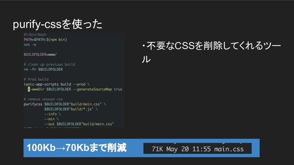 purify-cssを使った ・不要なCSSを削除してくれるツー ル 100Kb→70Kbまで...