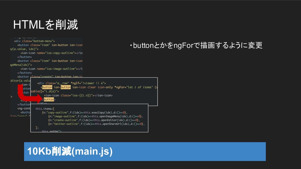 HTMLを削減 ・buttonとかをngForで描画するように変更 10Kb削減(main.j...
