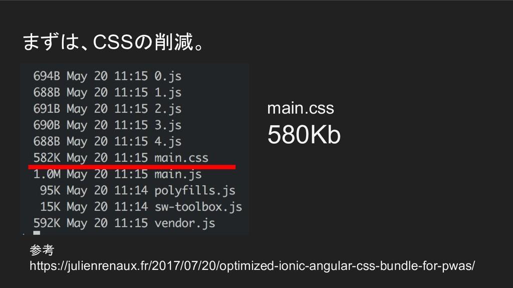 まずは、CSSの削減。 参考 https://julienrenaux.fr/2017/07/...