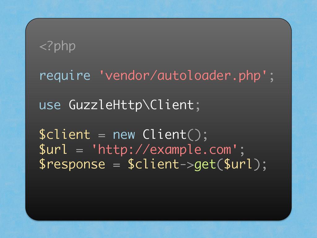 <?php require 'vendor/autoloader.php'; use Guzz...
