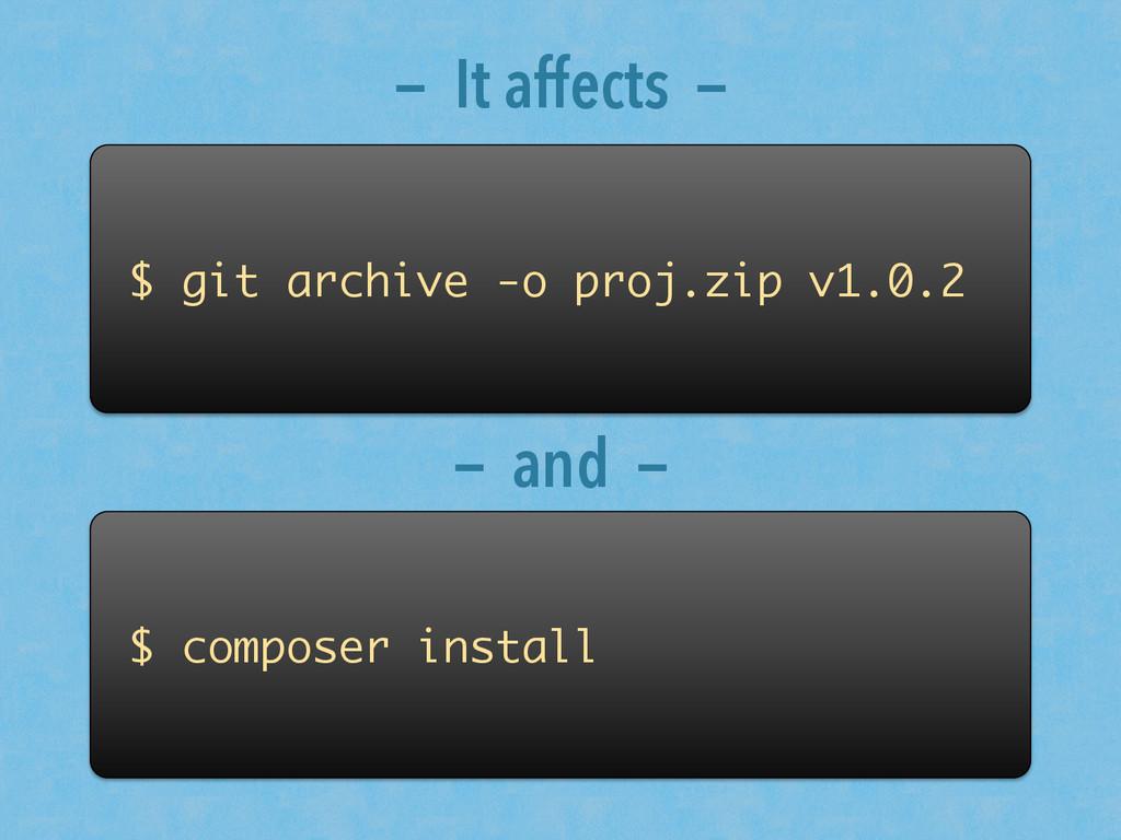 $ git archive -o proj.zip v1.0.2 $ composer ins...