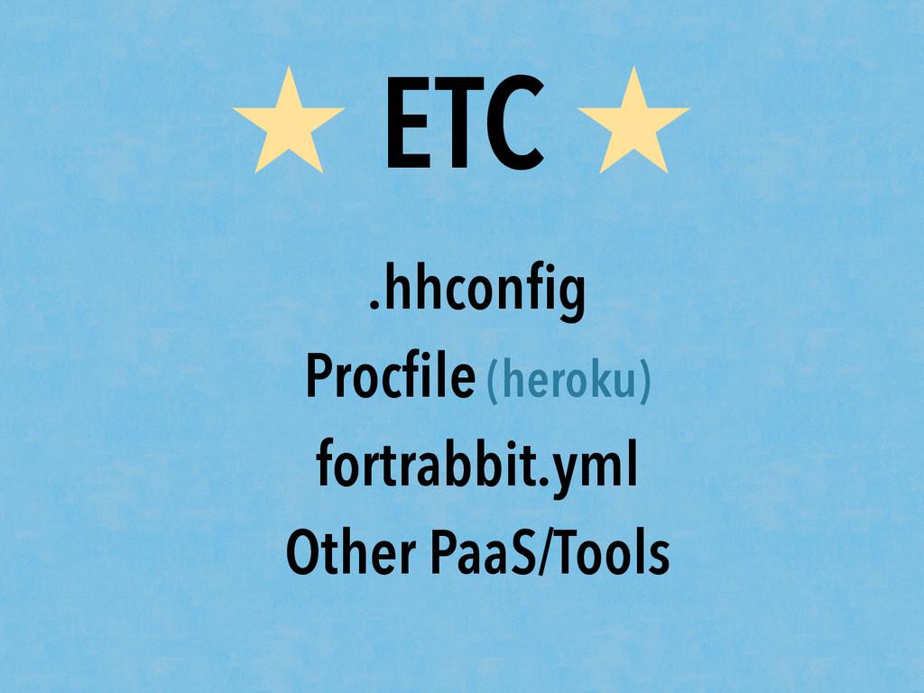 ★ ETC ★ .hhconfig Procfile (heroku) fortrabbit.ym...