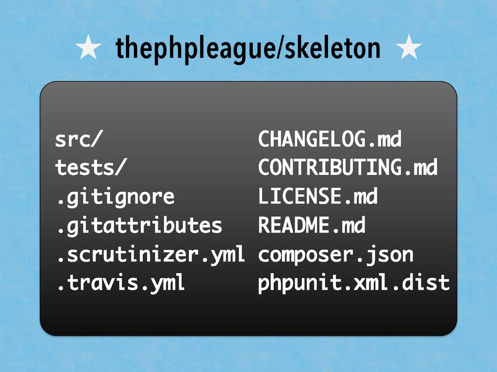 ★ thephpleague/skeleton ★ src/ tests/ .gitignor...