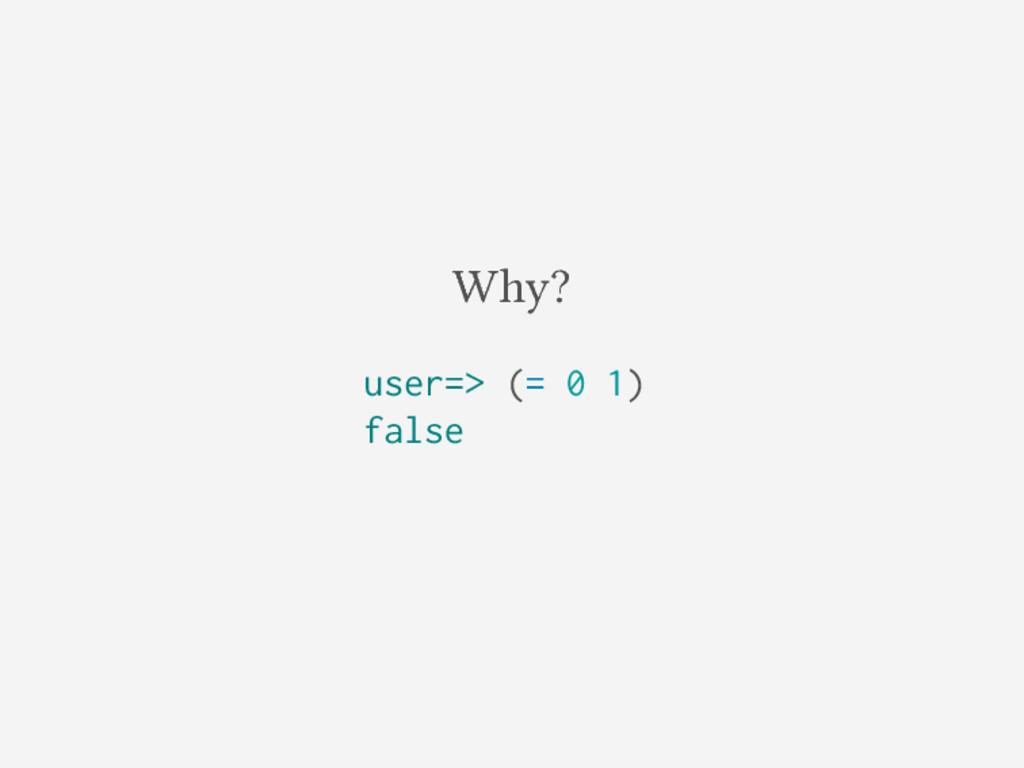 Why? user=> (= 0 1) false
