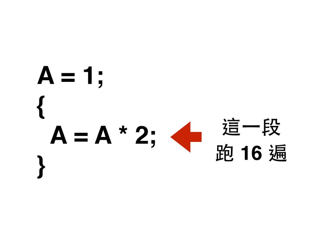 A = 1; { A = A * 2; } 跑 16 遍 這⼀一段