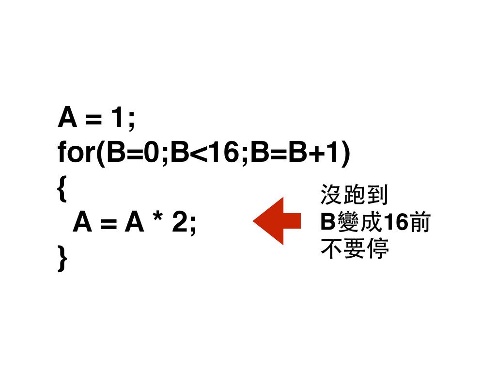 A = 1; for(B=0;B<16;B=B+1) { A = A * 2; } B變成...