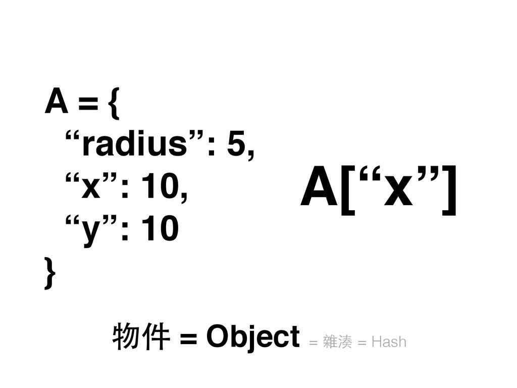 """A = { """"radius"""": 5, """"x"""": 10, """"y"""": 10 } A[""""x""""] 物件..."""