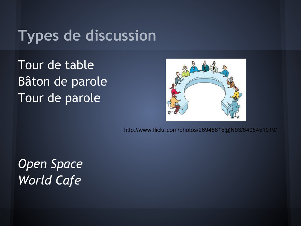 Types de discussion Tour de table Bâton de paro...