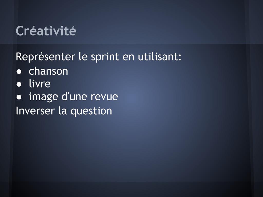 Créativité Représenter le sprint en utilisant: ...