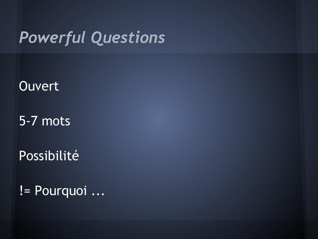 Powerful Questions Ouvert 5-7 mots Possibilité ...