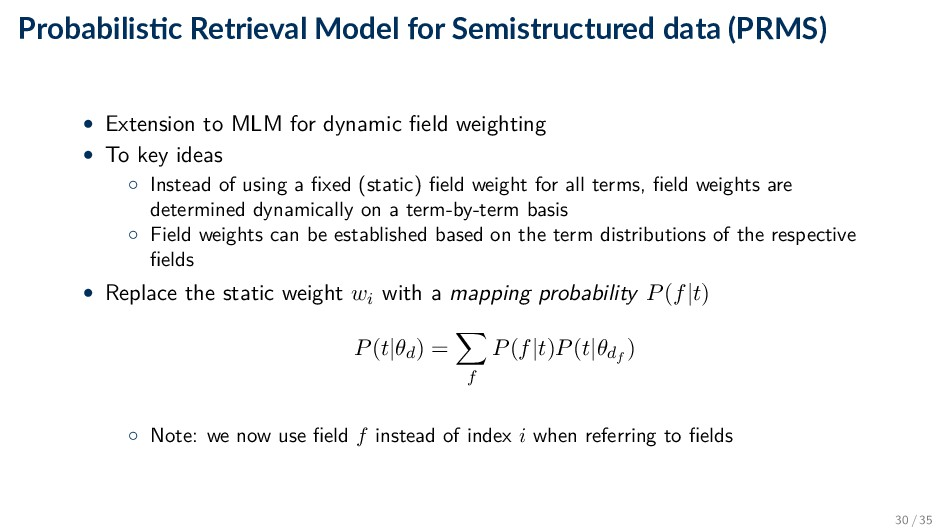 Probabilis c Retrieval Model for Semistructured...