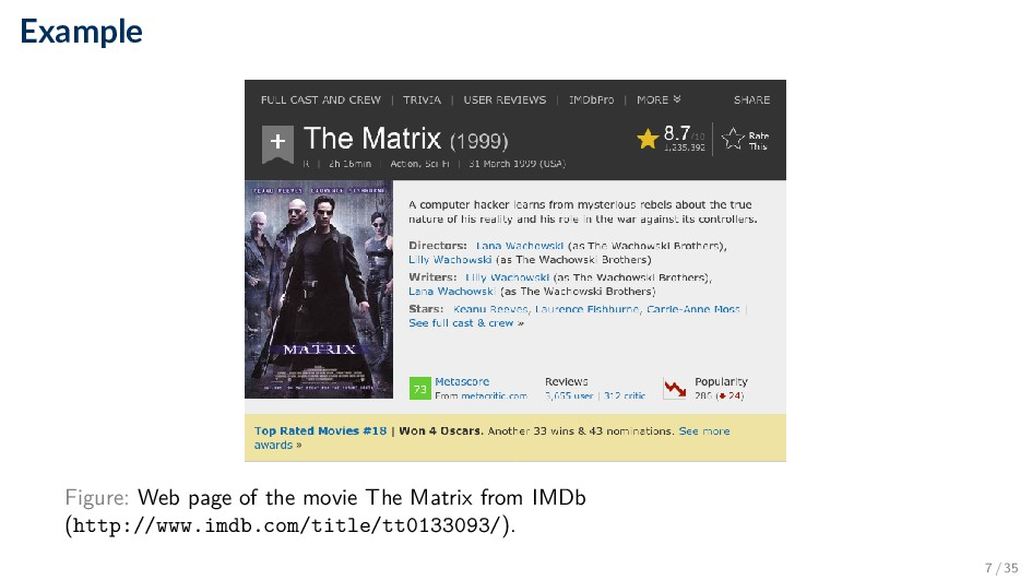 Example Figure: Web page of the movie The Matri...