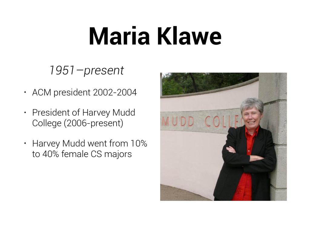 Maria Klawe 1951–present • ACM president 2002-2...