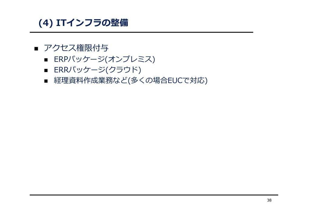 (4) ITインフラの整備  アクセス権限付与  ERPパッケージ(オンプレミス)  E...