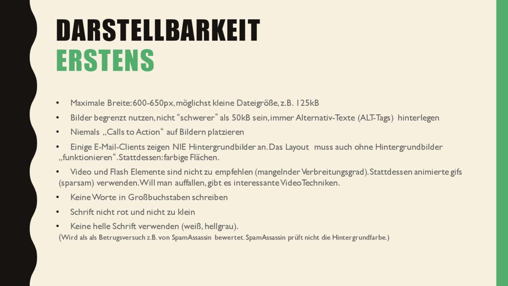 DARSTELLBARKEIT ERSTENS • Maximale Breite: 600-...