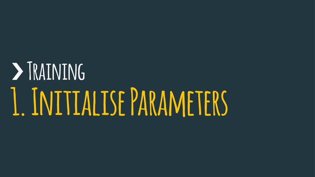 › Training 1. Initialise Parameters
