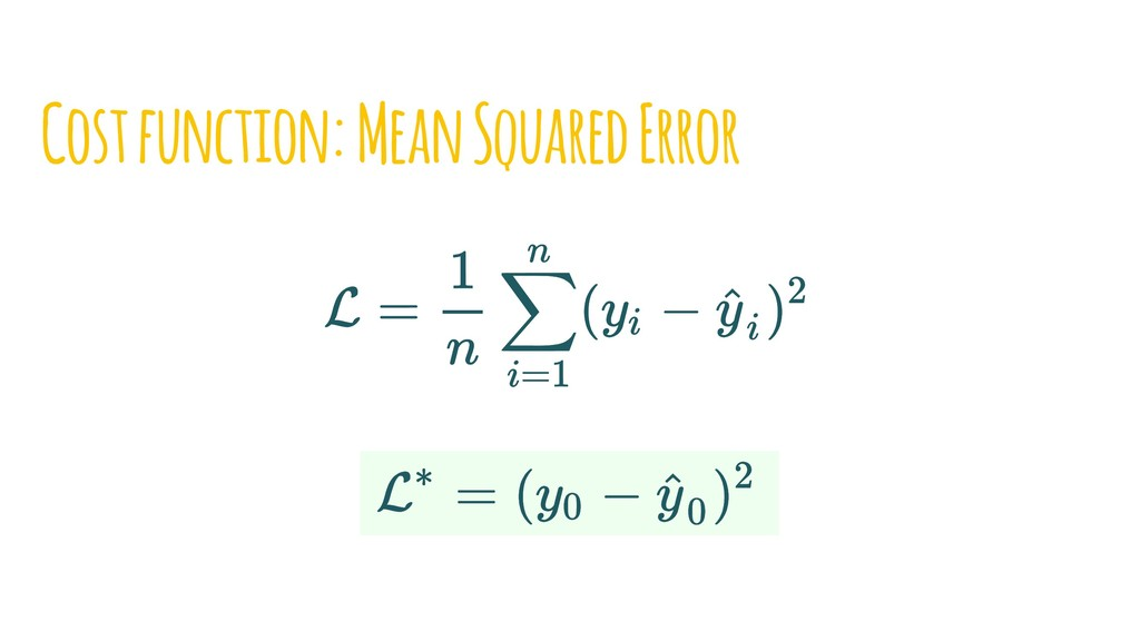 Cost function: Mean Squared Error