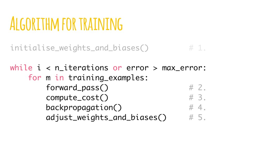 Algorithm for training initialise_weights_and_b...