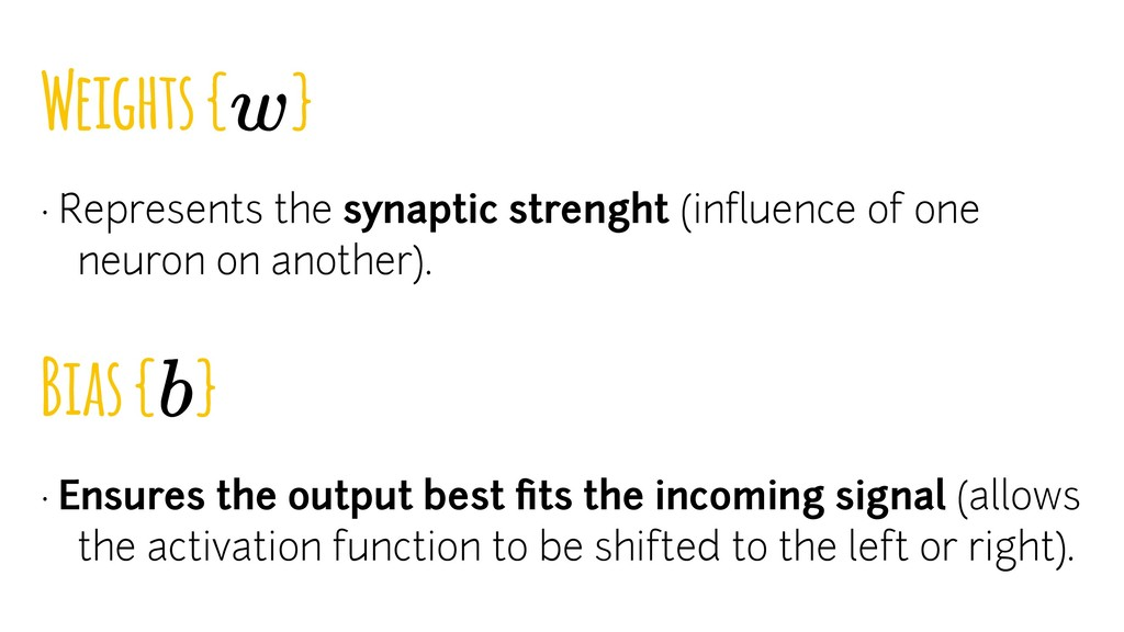 Weights { } · Represents the synaptic strenght ...