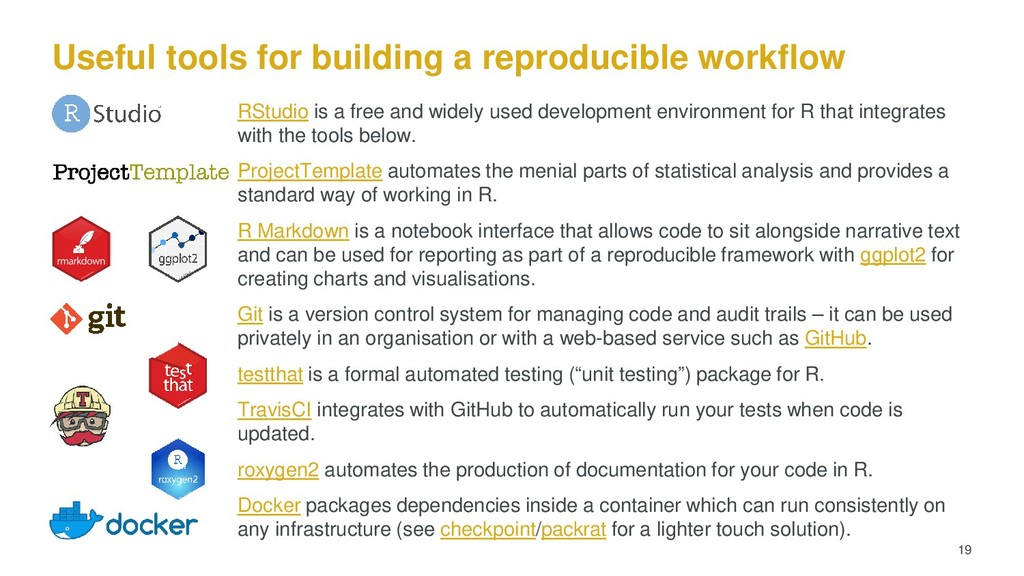 Useful tools for building a reproducible workfl...