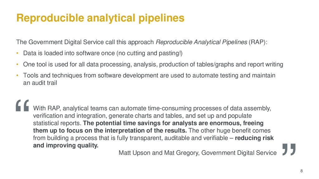 Reproducible analytical pipelines The Governmen...