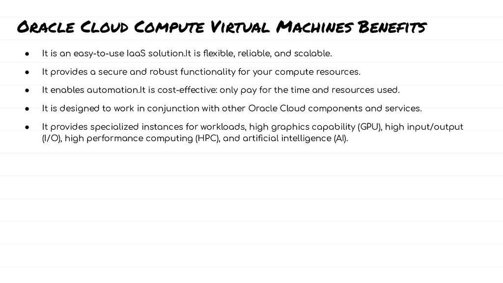 Oracle Cloud Compute Virtual Machines Benefits ...