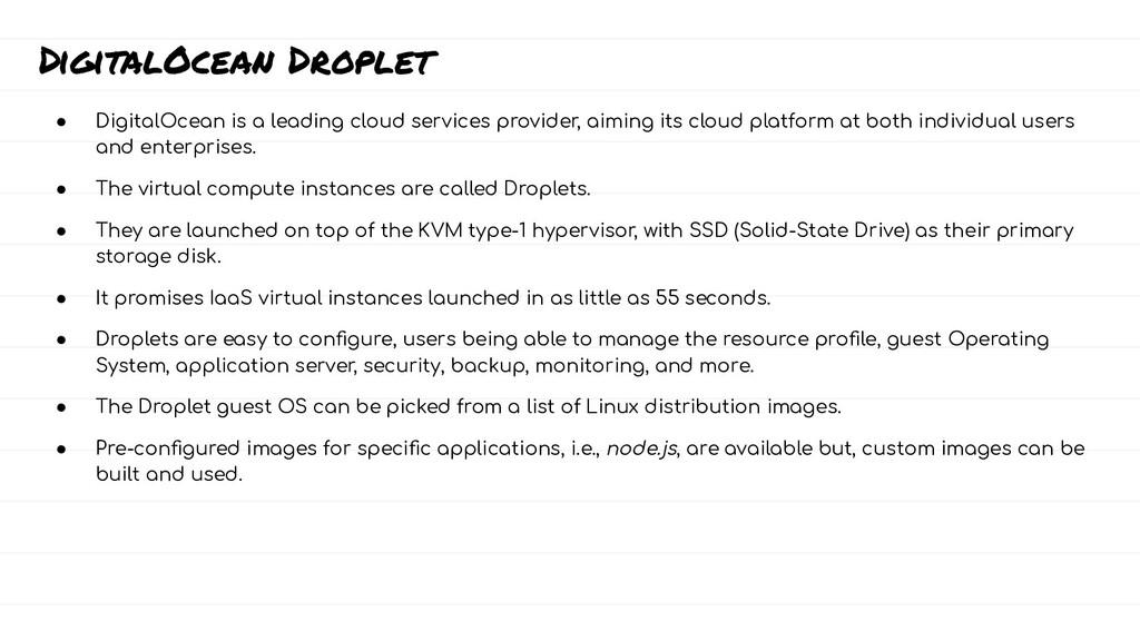 DigitalOcean Droplet ● DigitalOcean is a leadin...