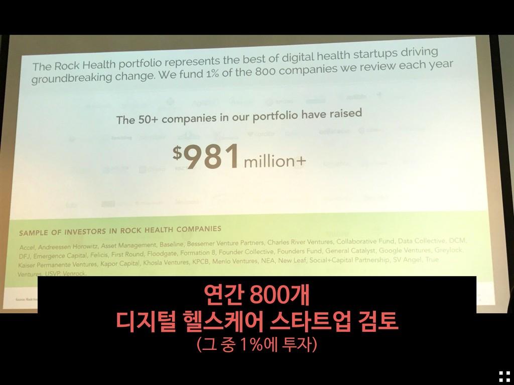 연간 800개   디지털 헬스케어 스타트업 검토  (그 중 1%에 투자)