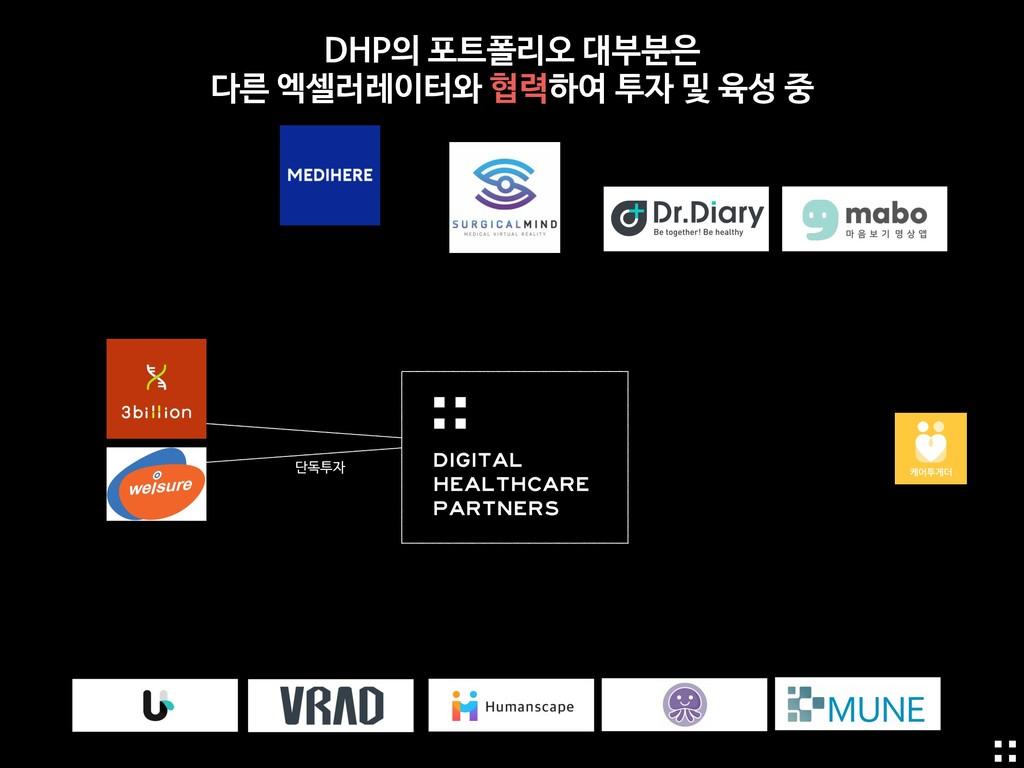 단독투자 DHP의 포트폴리오 대부분은   다른 엑셀러레이터와 협력하여 투자 및 육성 중