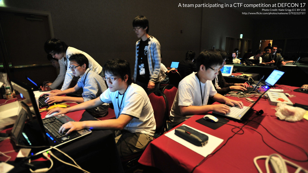 A team participating in a CTF competition at DE...