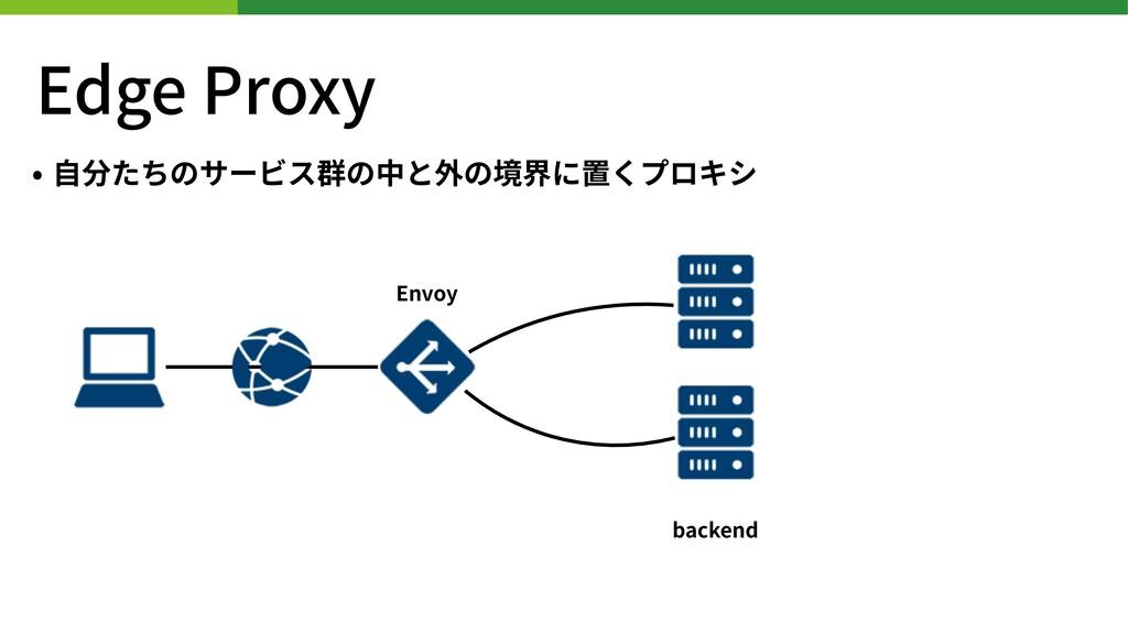 Edge Proxy • ⾃分たちのサービス群の中と外の境界に置くプロキシ backend E...