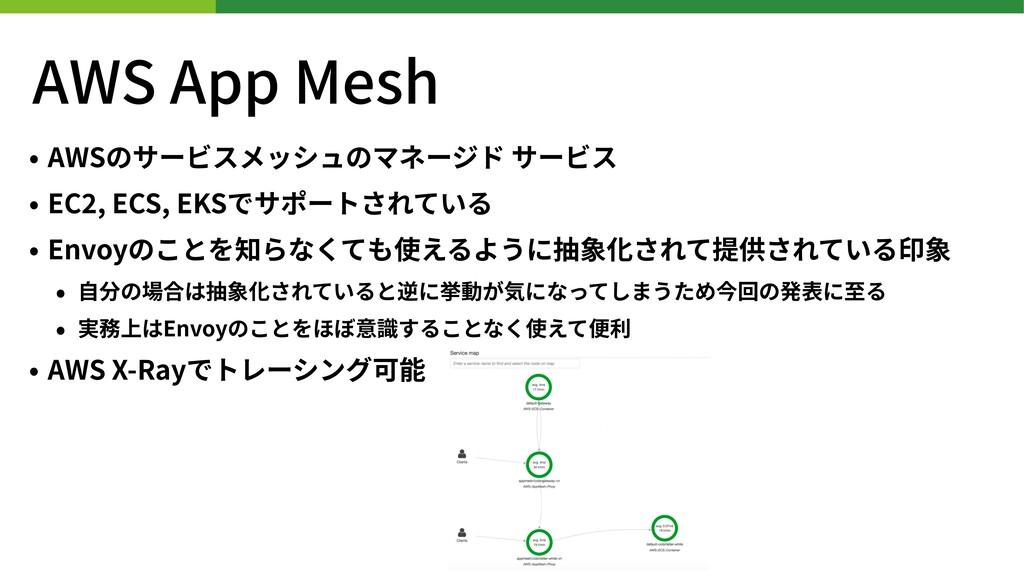 AWS App Mesh • AWSのサービスメッシュのマネージド サービス • EC , E...