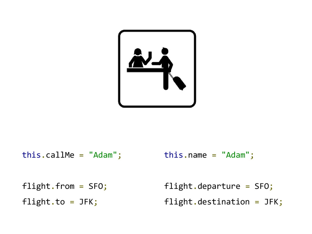 "this.callMe = ""Adam""; flight.from = SFO; flight..."